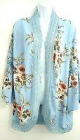 Women's Basic Faith NWT Plus 2XL Blue Floral Open Jacket Kimono Bell Sleeves