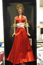 "Franklin Mint Marilyn Vinyl Doll Christmas Red Satin 16"" LE/1000 With COA"