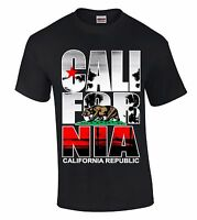 Cali For Nia Palm T-SHIRT California Republic Bear West Coast Star Retro Shirt
