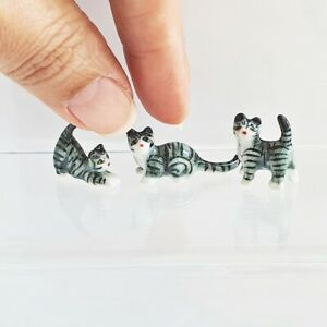 Dollhouse Miniatures Ceramic Cat Kitten Figurine Mini Tiny Handmade Gift Set