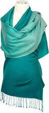 Schal 70% Cashmere 30% Seide Farbverlauf Petrol Aqua scarf silk ombre  écharpe