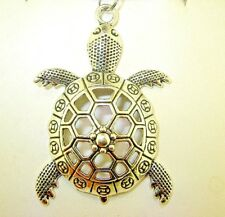 "New  Large Beautiful  3-D  TURTLE  Silver-tone Pendant  18"" - 20"" Black Necklace"