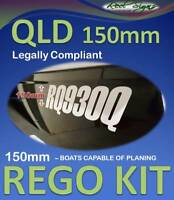 QLD 150mm BOAT REGISTRATION DECAL STICKER KIT - Legal for all Planing Boats