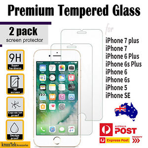 2X Genuine Tempered Glass Screen Protector Film for Apple iPhone 7 7 plus 6 5 SE