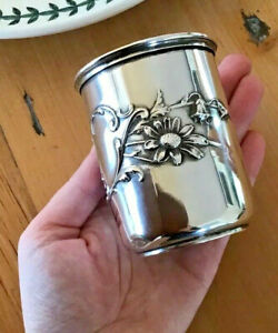 Nouveau DAISY Lily of the Valley Solid Silver Cup Tumbler Julep Floral NO MONO