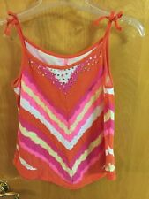 Girls Justice Summer Top Size 14 Orange,Pink,Yellow, White, & Purple W/Bling EUC