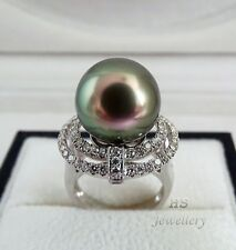 HS Huge Rare Flashy Peacock Tahitian Cultured Pearl 14.25mm & Diamond Ring 18KWG