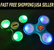 Batman Superman LED Fidget Spinner 2 pack Finger Hand Toy Light Up figet figit