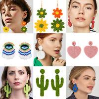 Boho Glass Seed Bead Tassel Earrings Drop Dangle Women Earrings Fashion Jewelry