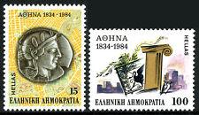 Greece 1506-1507, MNH. Athens as Capital City, 150th ann. Silver coin,Birds,1984
