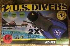 Us Divers Proflex Scuba Snorkeling Dive Fins Flippers Blue ~New In Box
