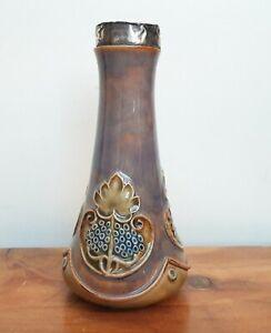 Royal Doulton Stoneware Art Nouveau Vase 2778 c1902 Signed RH Silver Collar