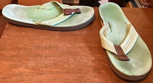 RAINBOW SANDALS-BLUE/GREEN-WOMENS SIZE LARGE,7.5-8.5-PREOWNED-CLASSIC STYLE-NICE