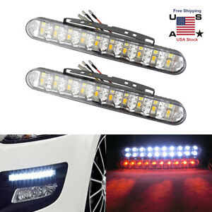 30LED Daytime Running Fog Light DRL Daylight Lamp Turn Signal Bumper Grille US