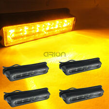 4Pcs 6 LED Flashing Grill Lights Bar Strobes Warning Recovery Lamp Yellow 12-24V