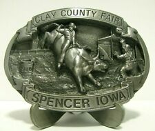 71st Clay County Fair Spencer Iowa 1988 Bull Riding Rodeo Pewter Belt Buckle LE