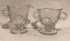 Gorgeous Vintage Crystal Glass Fostoria Cynthia Creamer & Sugar Set