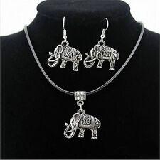 Fashion Women Tibetan Silver Elephant Pendant Necklace Hook Earrings Jewelry Set