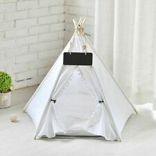 Pet Dog Cat Kitten Bed Portable House Kennel Tent Pompom Fold Strong Washable