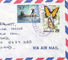 AN258 1976 Jamaïque local ovale * Montego Bay No. 1 * commercial airmail cover Devon