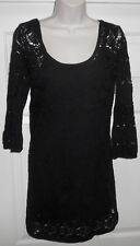 ROXY Black Crochet 3/4 Slv Dress with Snap Adj Spag Strap Slip Lining Size Small