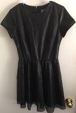 Lucca Couture Sz M (?) Black Short Sleeve Mesh Cut Out Sheath Dress