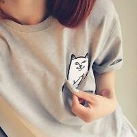 Fashion Women Cat Cute Ladies Summer Short Sleeve Casual Top T shirt Blouse Soft