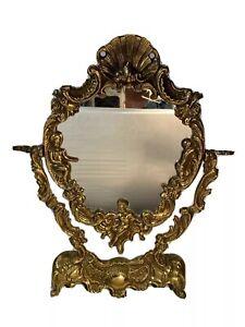 Rare 1950 Bronze mirror cherubins angel putti amour barocque rokoko