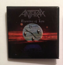 """New listing Anthrax """"Persistence of Time"""" Album Pin-Back Button - 1991 Original Collectible"""