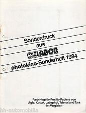 Presión especial Photokina 1984 foto papeles Agfa kodak labaphot Tetenal tura laboratorio