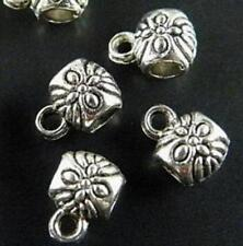 150pcs Tibet Silver Flower Bails Beads Connectors 8x6x5mm zn47344