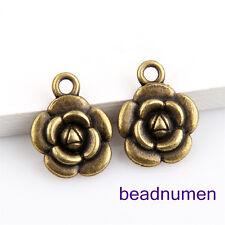 25pcs bronze plated flowers pendants 12x12mm 1A560