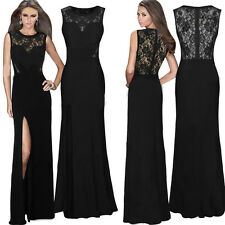 Womens Formal Long Lace Prom Evening ladies Wedding Cut Party Bodycon Dresses