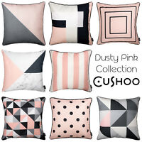 Geometric Cushion Grey and Dusty Pink Pastel Cover Sofa Throw Pillow 45cm 18""