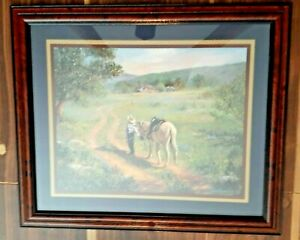 """HOME INTERIOR COWBOY & HORSE PICTURE SIGNED SCROGGINS 19"""" X 16"""" FRAMED MATTED"""
