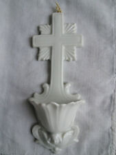 BENITIER HOLY WATER FONT - ANTIQUE FRENCH CERAMIC - WHITE - EARLY 20th CENTURY