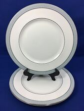 Royal Doulton ETUDE Dinner Plates White with Gray Rim Made in England SET OF 3