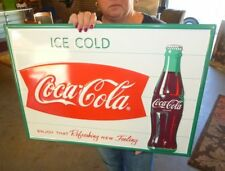 Drink Coca-Cola 28x20 Inch Commercial Embossed Steel Sign Fishtail Logo
