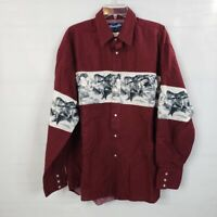 VTG Wrangler Western Shirts Red Horses Pearl Snap Southwest Men's XL L/S Mustang