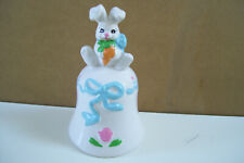 "Russ Berrie & Co Easter Bunny Bell Item 5539 With Carrot 3 3/4"" Tall Taiwan Roc"