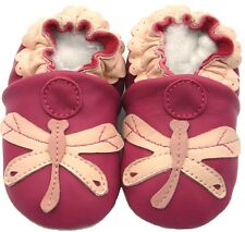 Soft Sole Leather Baby Infant Kids Toddler Children DragonflyFuchsia Shoes 6-12M