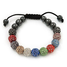 Unisex Multicoloured Diamante Balls & Smooth Round Hematite Beads Buddhist B