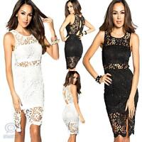 Sexy Sleeveless Floral Crochet Lace Slit Bodycon Mini Dress Formal Evening Party