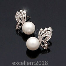 Women 925 Sterling Silver Rhinestone Butterfly Pearl Animal Stud Earrings