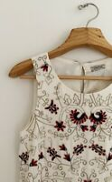 LUCKY BRAND Women Top Tank Sz S Ivory Sleeveless Blue Red Beaded Embroidered