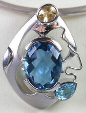 Blue Topaz and Citrine Pendant STERLING SILVER Statement Wedding Mother of Bride