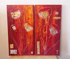 Bilder (2) abstrakt Acrylbilder modern Gemälde Kunst Deko Wandbild handgemalt