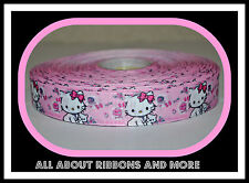 7/8 INCH HELLO KITTY WITH PINK BOW ON LIGHT PINK GROSGRAIN RIBBON-1  YD