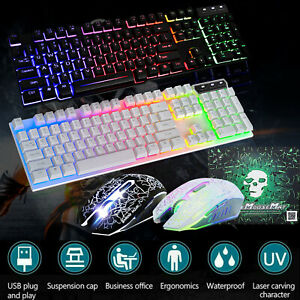 Gaming Keyboard and Mouse Ergonomic Mechanical USB Backlight For PS4 PC Xbox T6