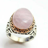 925 Sterling Silver Certified Handmade AAA+ Quality Rose Quartz Huge Mens Ring